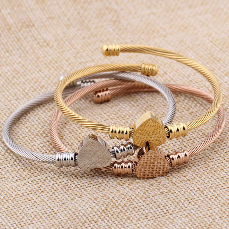 c1708bebe9c ... SKQIR Fashion Gold/Silver/Rose Open Bangles Jewelry Women's Stainless  Steel Twisted Cable Wire