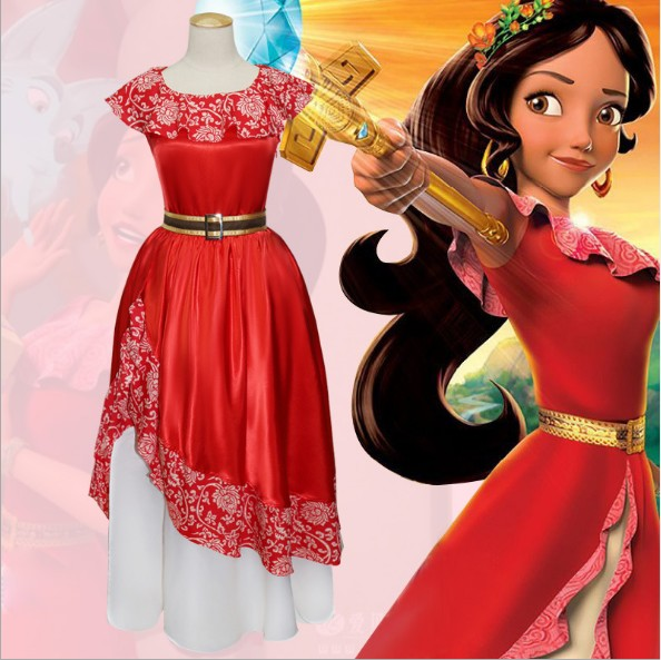 Anime Elena of Avalor Cosplay Costume Elena Dress Women Girl Cartoon Princess Long Dresses Red Halloween Festival Party Fancy