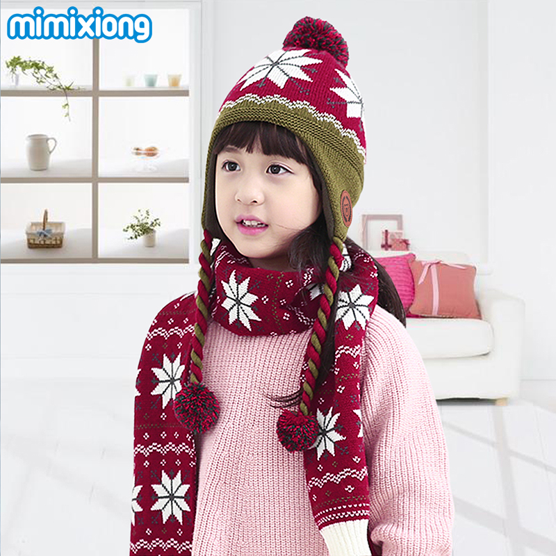 a09a2bebbaf7e Autumn Baby Girls Hat Scarf Gloves Sets Fashion Snowflake Knitted Beanie  Hat Scarves Mittens for Boys Winter Warm Children Suits