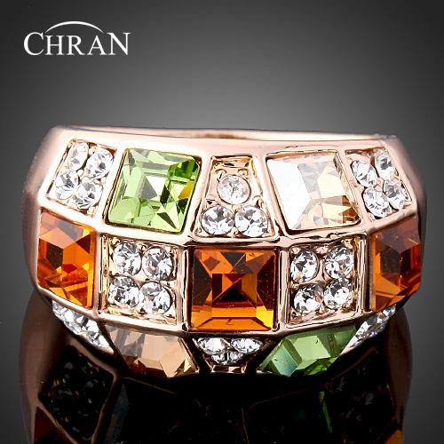 Chran Luxury Ethnic Crystal Ring Vintage Gold Color Wedding Rings For Women Statement Fashion Bohemian Turkish Jewelry