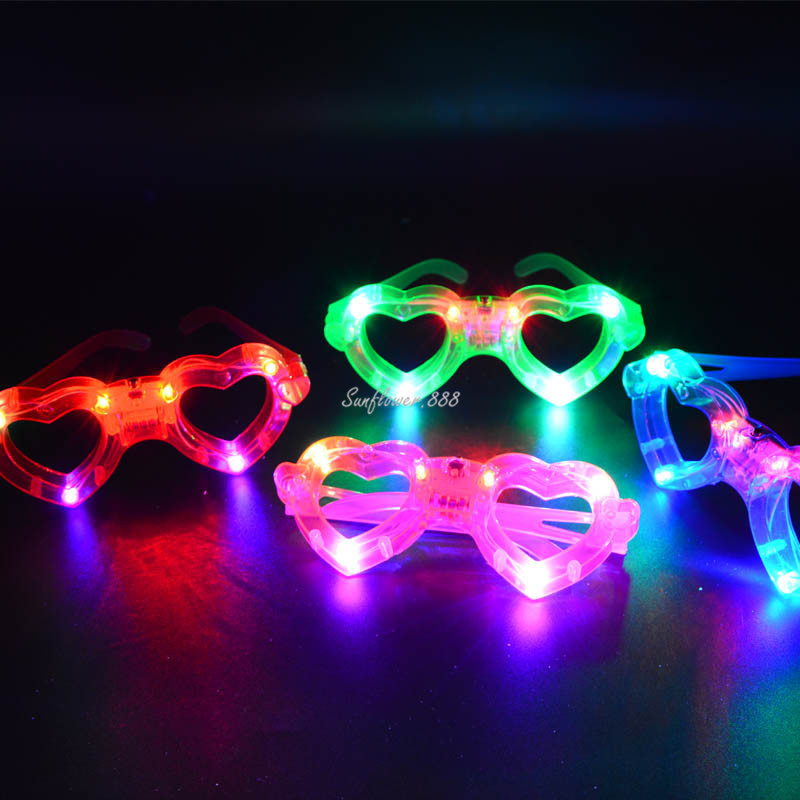 Birthday Party Wedding LED Flashing Heart Eye Mask Glowing Eye Glasses Light Up Toys For Adult