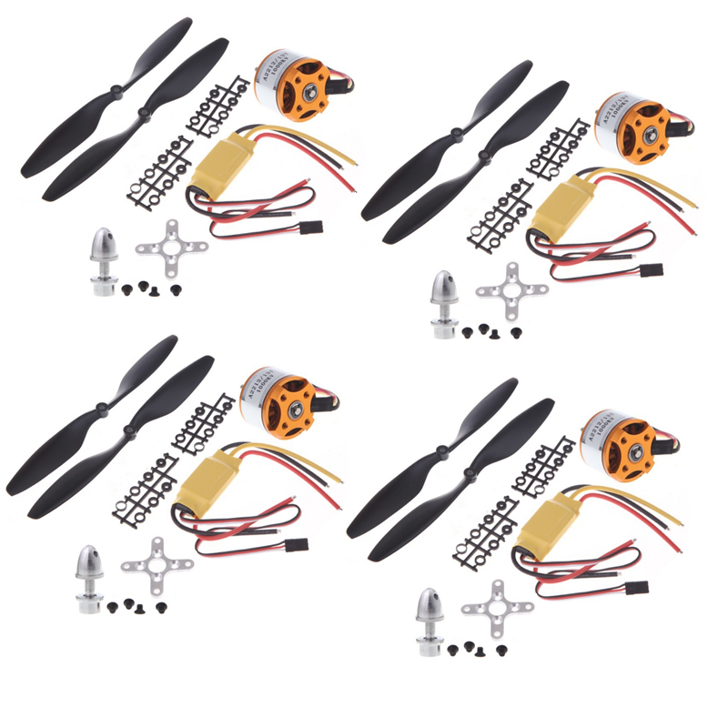4set / lot A2212 1000KV Brushless Outrunner Motor + 30A ESC + 1045 Set Penjana Quad-Rotor untuk Multicopter Pesawat RC
