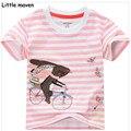 Little maven crianças marca de roupas de verão meninas de manga curta o pescoço listrado t camisa de ciclismo de algodão coelho impressão topos marca l040