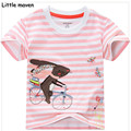 Little maven kids brand clothing summer girls short sleeve O-neck striped t shirt Cotton Cycling rabbit printing brand tops L040