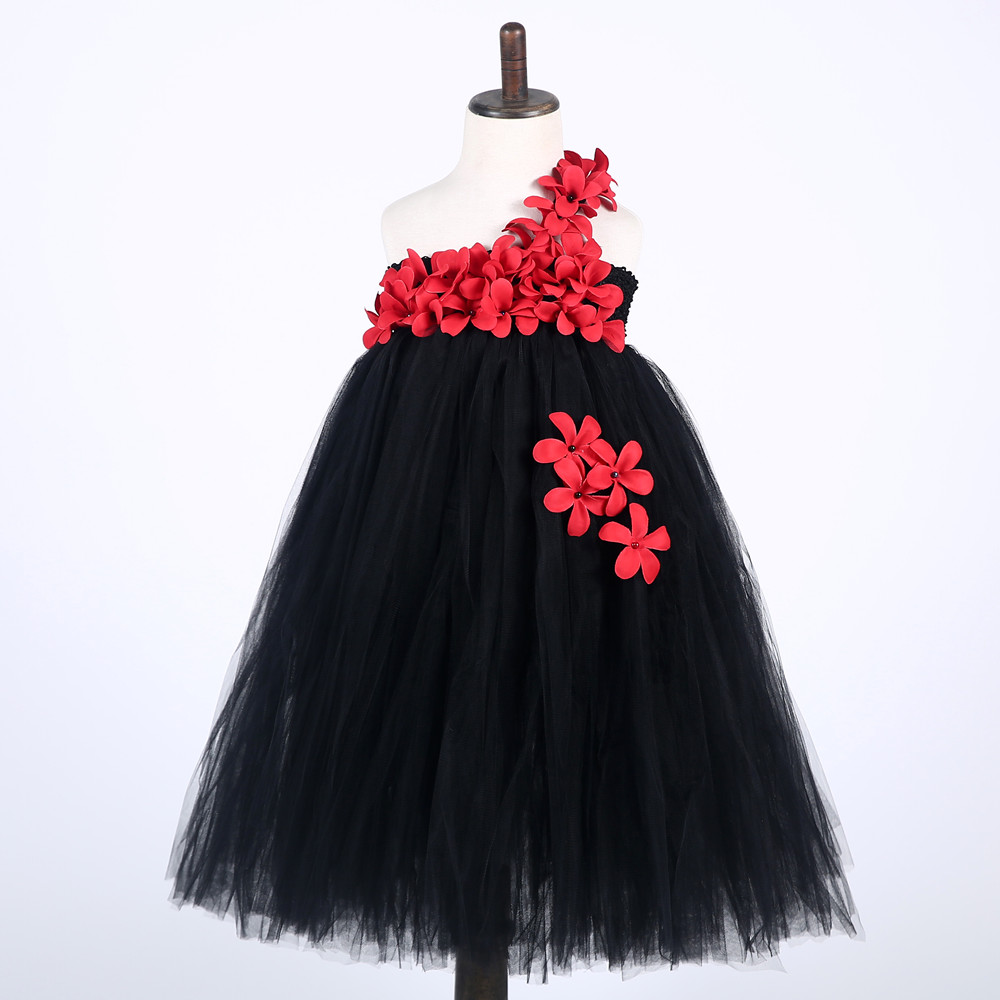 Ankle Length Girls Black Dress Red Flower One Shoulder Summer Girl Lace Dress Long Tulle Teen Girl Party Dress Baby Girl Clothes (2)