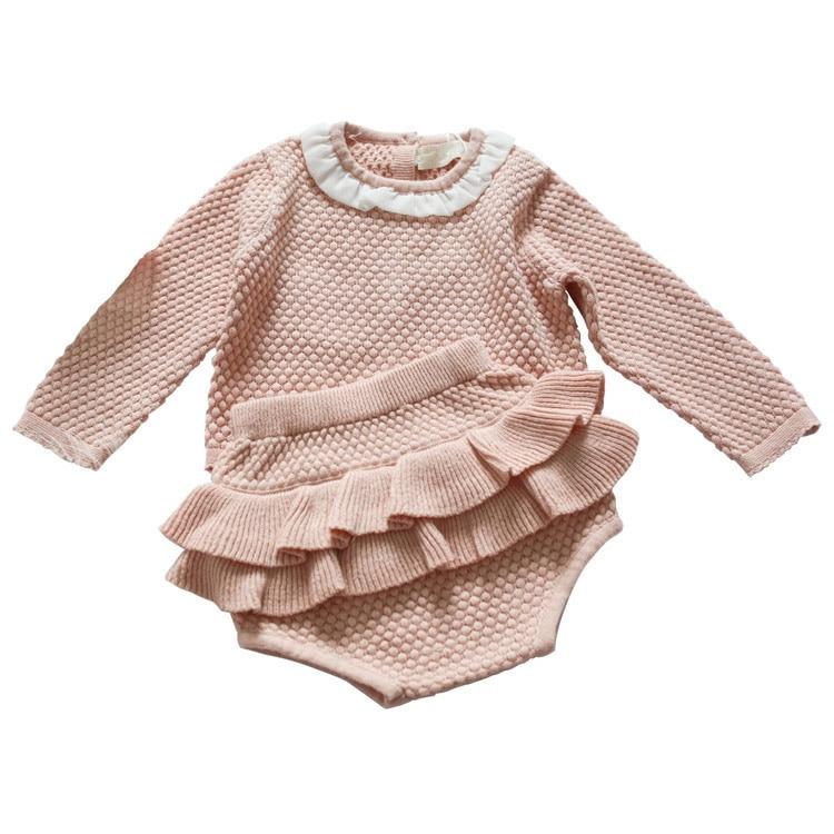Bébé automne vêtements d'hiver ensembles mignon Cardigan pour filles enfants chandail chaud + Bébé Ruche bloomer 2 pcs tricot enfants vêtements