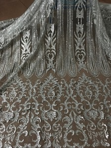 Image 1 - silver Glued glitter Tulle Lace Fabric Embroidered Tulle Fabric JIANXI.C 52826 With glitter