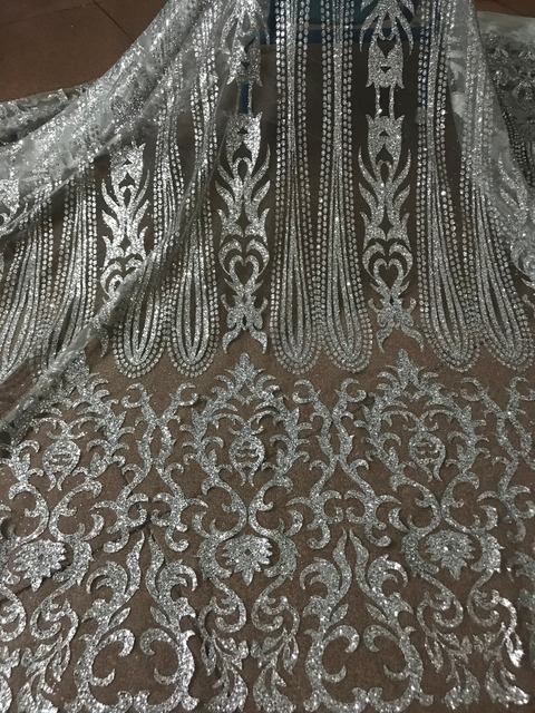 silver Glued glitter Tulle Lace Fabric Embroidered Tulle Fabric JIANXI.C 52826 With glitter