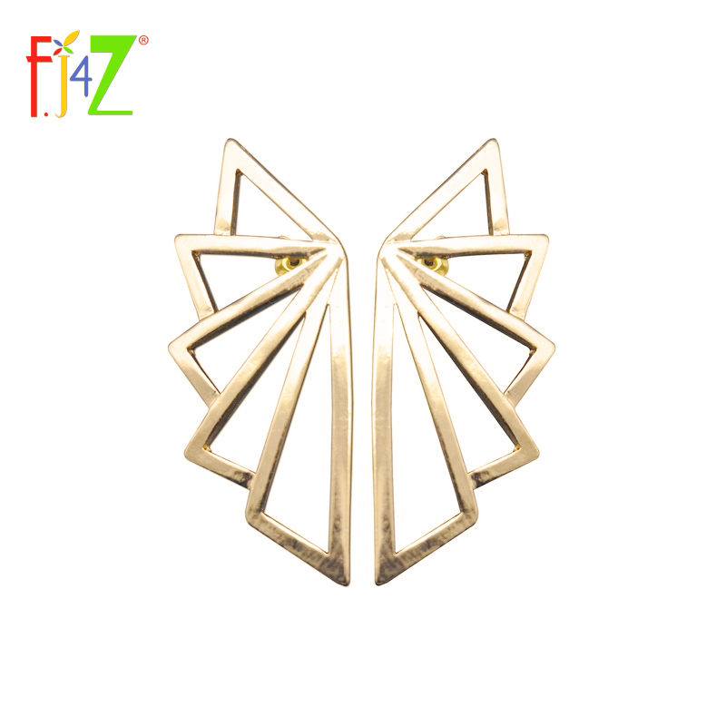 F.J4Z Geometric Earring Fesyen Punk Designer Emas Segitiga Big Ear Stud Earrings Untuk Wanita Brincos Grandes Dropshipping