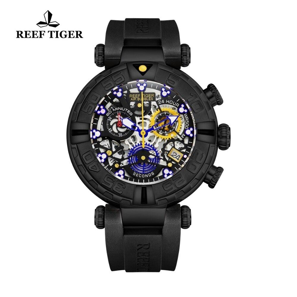 Reef Tiger RT Black Men Watch Big Skeleton Waterproof Rubber Strap Chronograph Stop Watch Date Sport