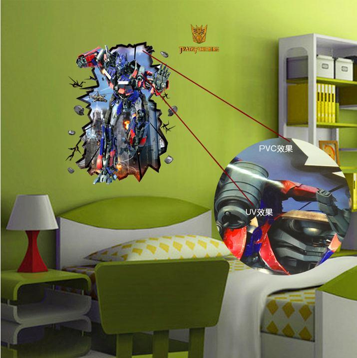 Hot Cartoon Transformers Wall Stickers Bedroom Cool Boys Room Living Fridge Decoration Background