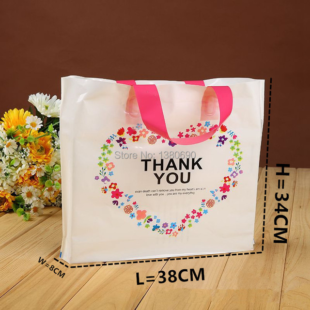 50pc L Plastic Gift Bag With Handle Thank You Wedding Birthday Party Package Bags Christmas New Year Wrapping