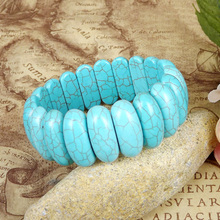 Blue Howlite Stone Wide Bangle Bracelet