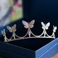 Butterfly Full Zircon Tiara Bride Micro Pave CZ Crown Headband Wedding Hair Accessories Diadem Jewelry Tiaras Coroa WIGO0950