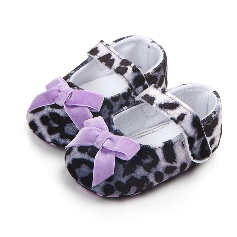 Fashion Leopard Baby Shoes Shallow Bow Toddler Crib Shoes First Walkers Anti Slip Spring Autumn Baby Girl Shoes Kids Footwear