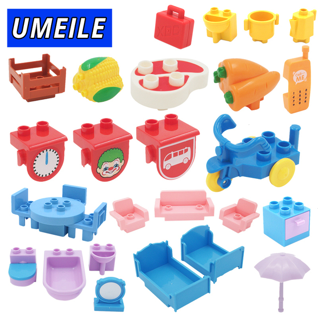 UMEILE Duplo Table Chair Cradle Lou Yi Case Building Block Accessories Home  Furnishing Decoration Brick Play