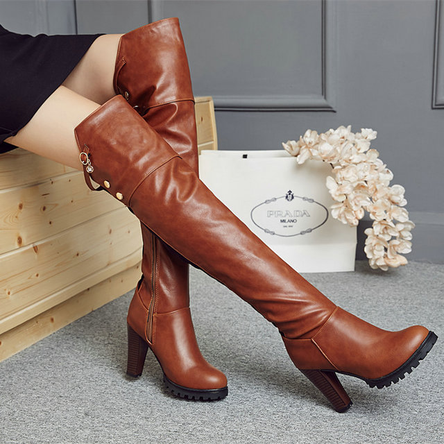 ФОТО 2016 high quality handmade cozy women boots high heels shoes Thick with sexy red Over the Knee Knight boots woman Botas mujer 43