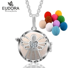 Eudora Hollow Butterfly Aromatherapy Perfume Harmony Floating Locket Cage Essential Oils Pendant Necklace with 10pcs Pompon