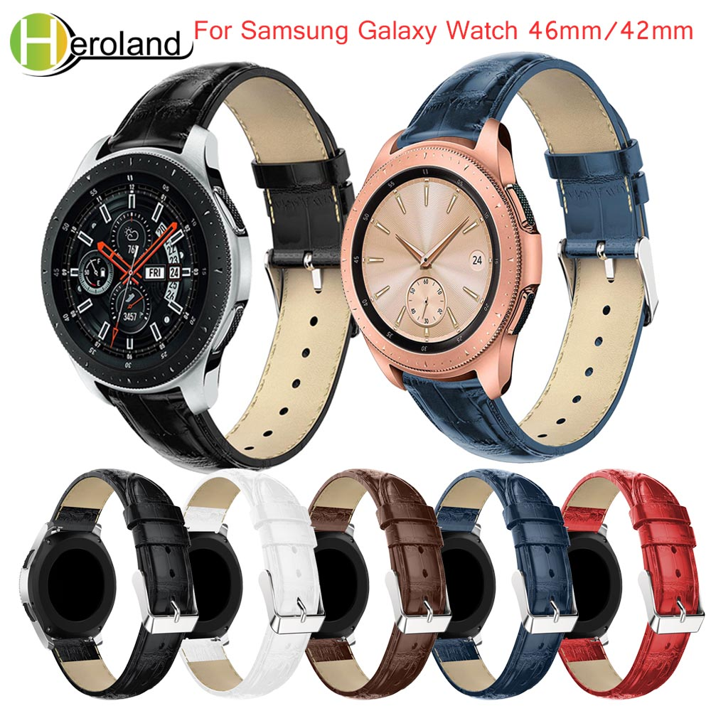 20mm Watchband Strap For Samsung Galaxy Watch 42mm/46mm Strap Band Smart Bracelet Leather Band Wrist Replacement Crocodile Belt