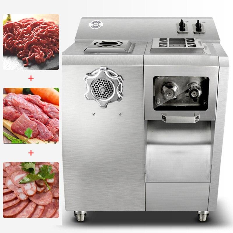 Moedor de carne elétrico comercial 220 V multifuncional aço Inoxidável clyster carne slicer Desfiado carne picada máquina de 2200 W