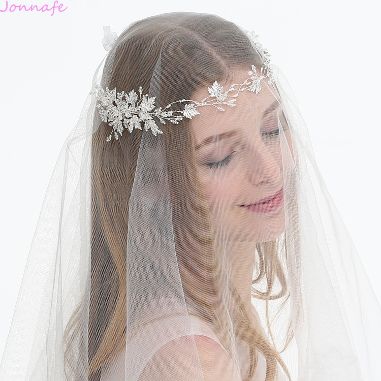 Jonnafe Tiny Beads Bridal Headpiece Silver Headband Leaf Wedding Hair Crown Vine Hair Accessories For Women