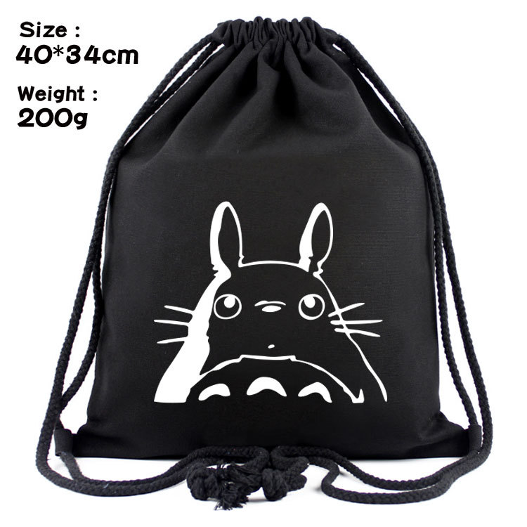 Totoro Black Canvas Backpacks Cartoon Drawstring Backpack Casual String Bags Shopping Knapsack Unisex New