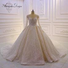 אמנדה עיצוב מותאם אישית ארוך שרוול נוצץ מבריק כדור שמלת חתונת שמלה