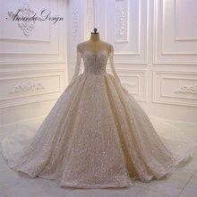 Amanda robe de mariage à manches longues, robe de bal scintillante, sur mesure