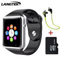 Langtek bluetooth smart watch a3 sport reloj de pulsera para teléfonos android con soporte de la cámara tarjeta sim tf inteligente pulsera