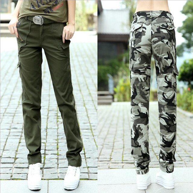 new women's military uniform pants fashion army green camouflage