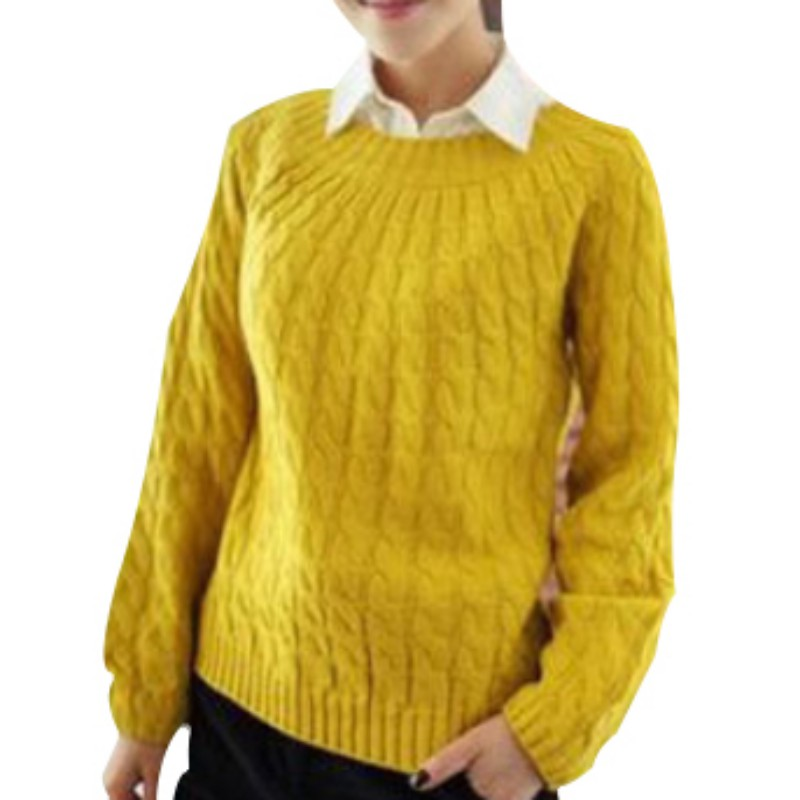 Womens Sweater Pullovers Long Sleeves O-Neck Twist Knitted Christmas Products Sweter Retro Small Twist Casacos Femininos