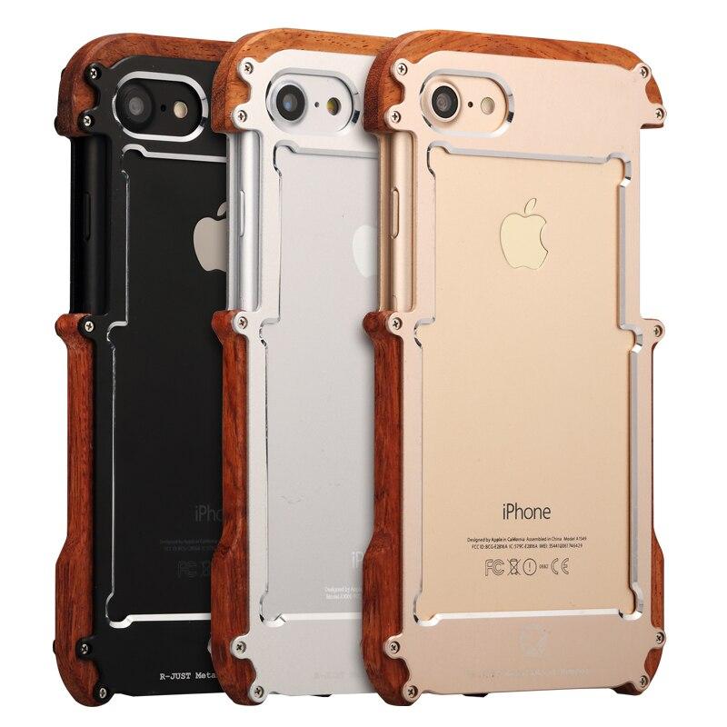 Цена за Натуральное дерево металлический бампер для Apple iPhone 7 Чехол роскошные Алюминий Рамка Бамперы для смартфонов для Apple iPhone 7 Plus Чехол