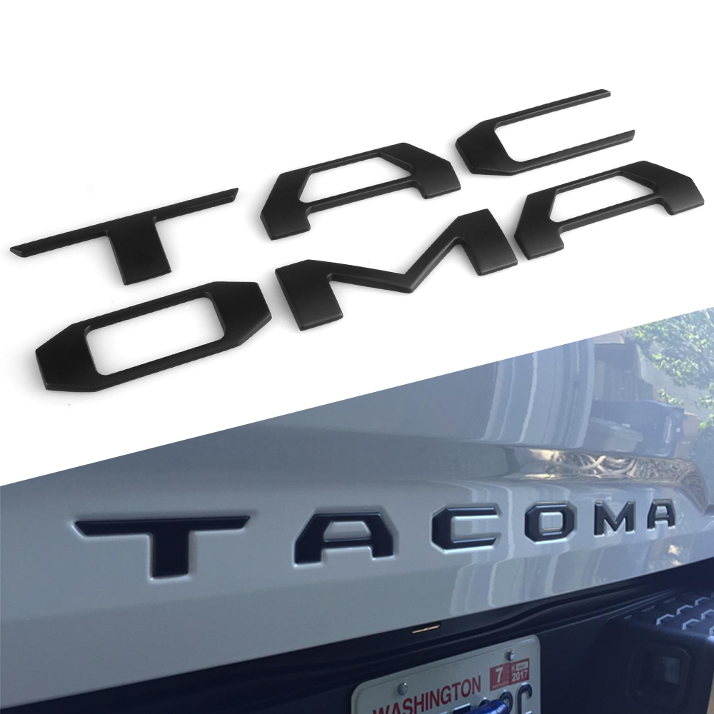 Matte Black And Silver Heavy Duty Letters For Toyota Tacoma 2016-2020 Tailgate Raised 3D Car Decal Stickers Car Styling