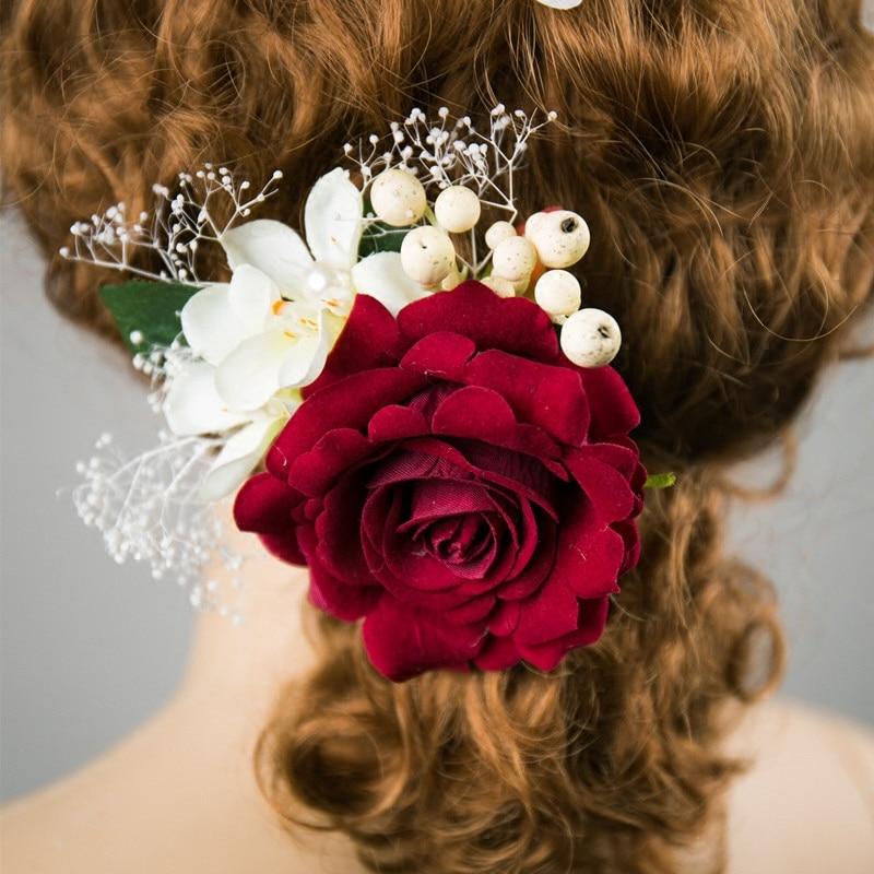 Rose Flower Hair Clip Hairpins Ornaments Bridal Wedding Dress Brooch Barrette Wedding Decoration Hair Accessories Women Hairwear
