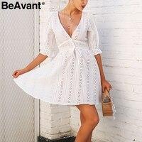 BeAvant V Neck Hollow Out Lace Dress Women Half Sleeve White Sexy Dress Female Ruffle Tie