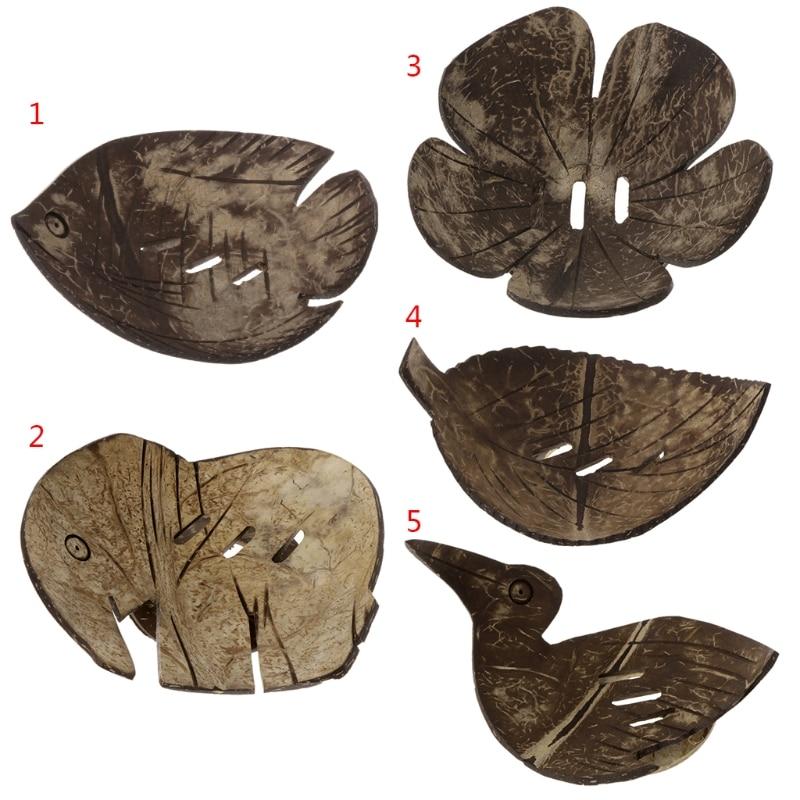 1 Stück Kreative Handgemachte Natürliche Coconut Shell Bad Seife Dish Box Container # Sep.10 Neueste Technik