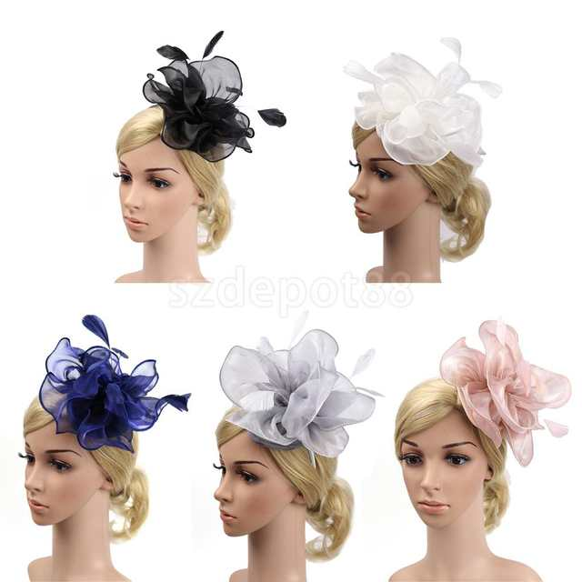placeholder Lady Flower Fascinator Hat 1920s Gatsby Bridal Headband  Cocktail Party Black a93f1d6e64e