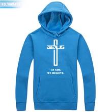 In God We Believe Sweatshirt Men Savior Jesus Religion Prayer Faith Christian Printed Hoodies Clothes Tops Casual Hoody