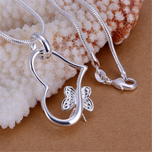 stamped butterfly silver color for women necklace jewelry silver jewelry fashion cute Heart pendant snake necklace