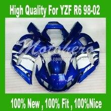 Привет-качество обтекатели для YZF R6 98 02 YAMAHA YZF-R6 1998 99 00 01 02 YZF600 R6 98-02 Белый синий зализа ABS части # s8jj7 + 7 подарки