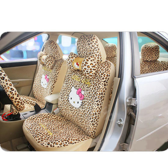 18pcs set cute hello kitty leopard print car seat covers short plush covers universal fit all. Black Bedroom Furniture Sets. Home Design Ideas