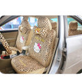 18pcs/set Cute Hello Kitty Leopard Print Car Seat Covers Short Plush Covers Universal Fit All Car SUV Seat Interior Accessories