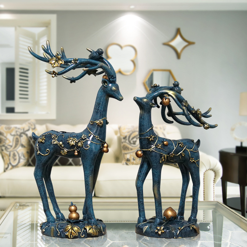 Американские ретро украшения с оленями украшения гостиной ТВ шкаф домашнего интерьера скандинавский Лось украшение декора - 5