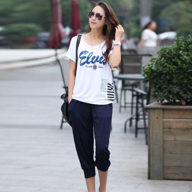 Летом из двух частей устанавливает женщины шею тонкий короткими рукавами футболка и шорты устанавливает 13200 Большой размер м-4xl