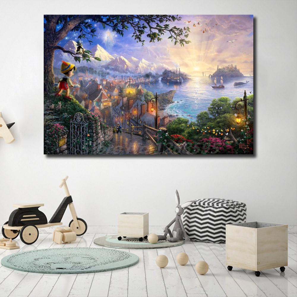Thomas Kinkade Pocahontas Beauty And The Beast Sleeping Beauty Art Canvas Poster Painting Wall Picture Print Home Bedroom Decor in Painting Calligraphy from Home Garden