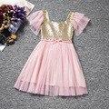 Nuevas Muchachas Del Verano Vestido de Gasa de los Cequis Vestidos Para Niñas Niños Ropa Infantil de La Princesa Del Banquete de Boda Del Vestido de Los Cabritos Soft Vestuario