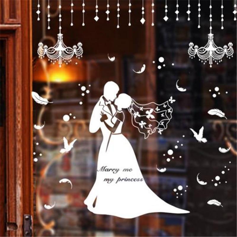 Custom Wedding Shop Windows Sticker Groom Bride Wall Poster Wall Art