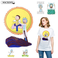 цена на Nicediy Rick And Morty Patch Iron On Transfer Letter Patches For Kids Clothing DIY Tshirt Badge Stickers Applique On Clothes DIY