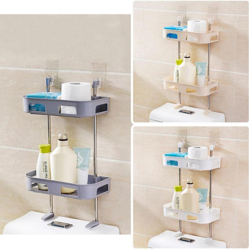 Double Layers Toilet Shelf Bathroom Storage Rack Wall-mounted Shower Shelf Shampoo Tissue Towels Holder Toilet Shower Organizer Полка