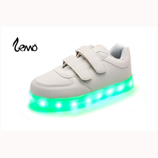 Cesta de carregamento usb led crianças sapatilhas meninas meninos led light up luminous crianças bombas shoes chinelos brancos das crianças